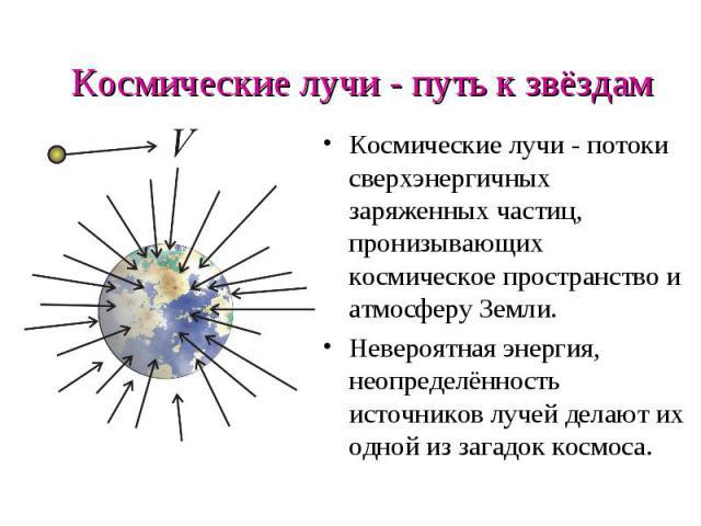 Космические лучи - путь к звёздам Космические лучи - потоки сверхэнергичных заряженных частиц, пронизывающих космическое пространство и атмосферу Земли. Невероятная энергия, неопределённость источников лучей делают их одной из загадок космоса.