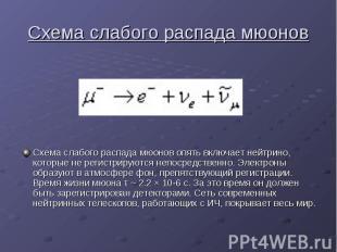 Схема слабого распада мюонов Схема слабого распада мюонов опять включает нейтрин