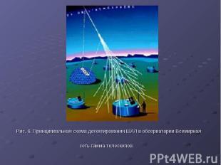 Рис. 6. Принципиальная схема детектирования ШАЛ в обсерватории Всемирная сеть га
