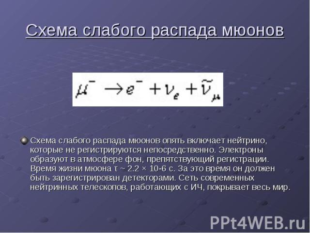 Схема слабого распада мюонов Схема слабого распада мюонов опять включает нейтрино, которые не регистрируются непосредственно. Электроны образуют в атмосфере фон, препятствующий регистрации. Время жизни мюона τ ~ 2.2 × 10-6 с. За это время он должен …