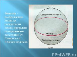 Экватор – воображаемая линия на поверхности Земли, проведена на одинаковом расст