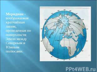 Меридиан - воображаемая кратчайшая линия, проведенная по поверхности Земли между
