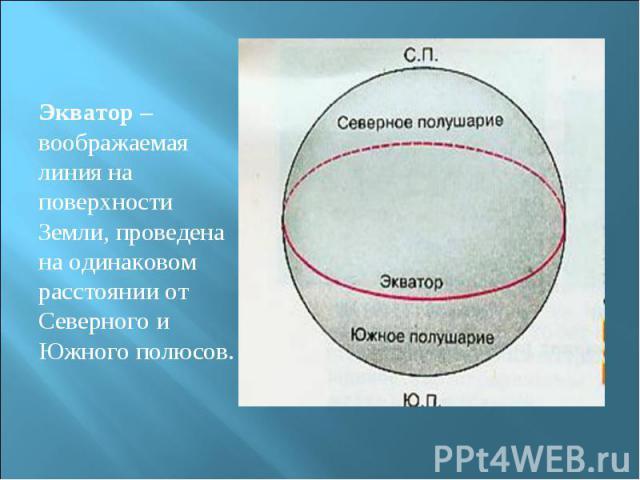 Экватор – воображаемая линия на поверхности Земли, проведена на одинаковом расстоянии от Северного и Южного полюсов.