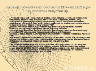 Первый собачий старт состоялся 22 июля 1951 года на полигоне Капустин Яр. …Четыр