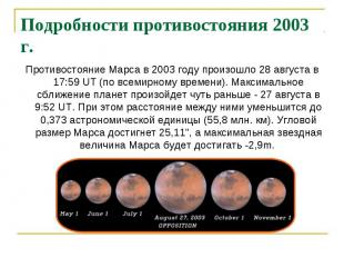 Подробности противостояния 2003 г. Противостояние Марса в 2003 году произошло 28