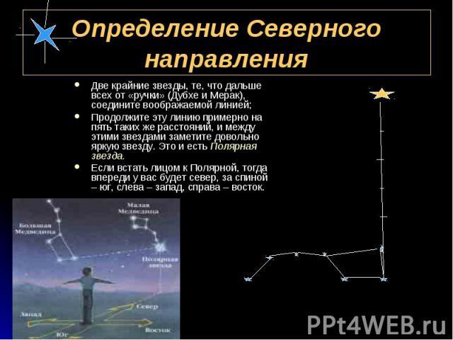 Две крайние звезды, те, что дальше всех от «ручки» (Дубхе и Мерак), соедините воображаемой линией; Две крайние звезды, те, что дальше всех от «ручки» (Дубхе и Мерак), соедините воображаемой линией; Продолжите эту линию примерно на пять таких же расс…
