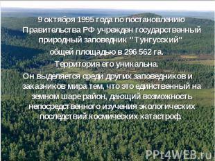 9 октября 1995 года по постановлению Правительства РФ учрежден государственный п