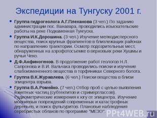 Группа гидрогеолога А.Г.Плеханова (3 чел.) По заданию администрации пос. Ванавар