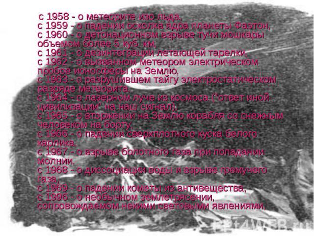 с 1958 - о метеорите изо льда, с 1959 - о падении осколка ядра планеты Фаэтон, с 1960 - о детонационном взрыве тучи мошкары объемом более 5 куб. км, с 1961 - о дезинтеграции летающей тарелки, с 1962 - о вызванном метеором электрическом пробое ионосф…