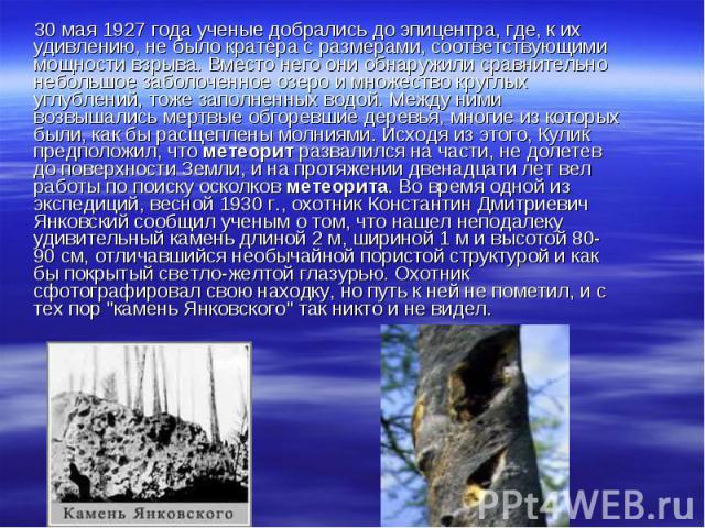 30 мая 1927 года ученые добрались до эпицентра, где, к их удивлению, не было кратера с размерами, соответствующими мощности взрыва. Вместо него они обнаружили сравнительно небольшое заболоченное озеро и множество круглых углублений, тоже заполненных…