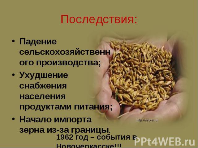 Падение сельскохозяйственного производства; Падение сельскохозяйственного производства; Ухудшение снабжения населения продуктами питания; Начало импорта зерна из-за границы.