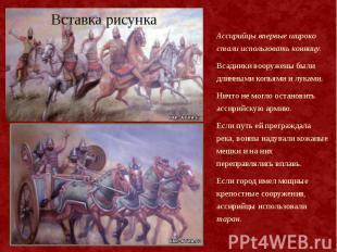 Ассирийцы впервые широко стали использовать конницу. Ассирийцы впервые широко ст