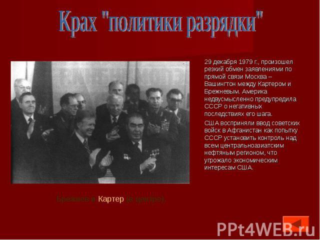 29 декабря 1979 г., произошел резкий обмен заявлениями по прямой связи Москва – Вашингтон между Картером и Брежневым. Америка недвусмысленно предупредила СССР о негативных последствиях его шага. 29 декабря 1979 г., произошел резкий обмен заявлениями…