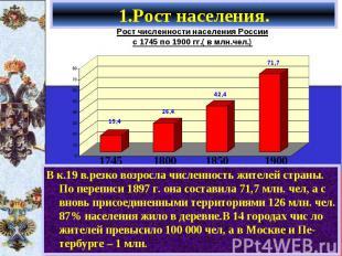 В к.19 в.резко возросла численность жителей страны. По переписи 1897 г. она сост