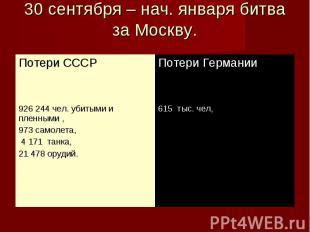 30 сентября – нач. января битва за Москву.