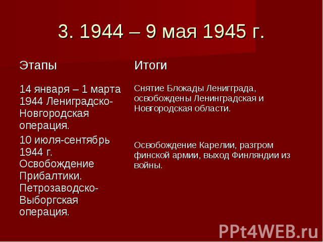 3. 1944 – 9 мая 1945 г.