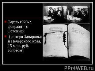 Тарту-1920-2 февраля – с Эстонией Тарту-1920-2 февраля – с Эстонией ( потеря Зан