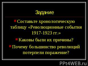 Составьте хронологическую таблицу «Революционные события 1917-1923 гг.» Составьт