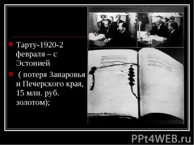 Тарту-1920-2 февраля – с Эстонией Тарту-1920-2 февраля – с Эстонией ( потеря Занаровья и Печерского края, 15 млн. руб. золотом);