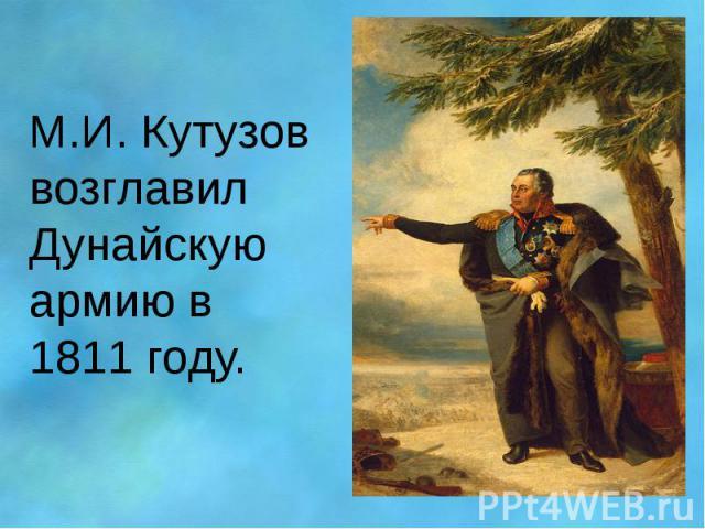 М.И. Кутузов возглавил Дунайскую армию в 1811 году.
