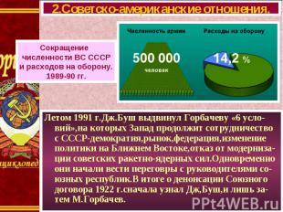 Летом 1991 г.Дж.Буш выдвинул Горбачеву «6 усло-вий»,на которых Запад продолжит с