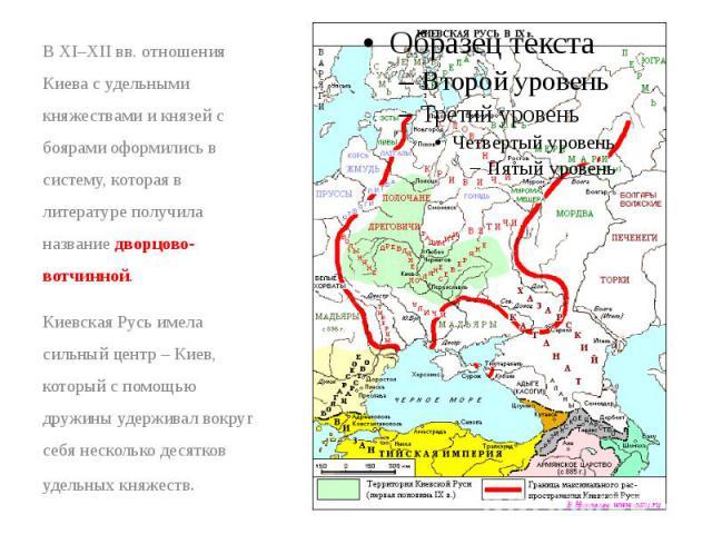 В XI–XIIвв. отношения Киева с удельными княжествами и князей с боярами оформились в систему, которая в литературе получила название дворцово-вотчинной. В XI–XIIвв. отношения Киева с удельными княжествами и князей с боярами оформились в с…