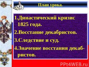 1.Династический кризис 1825 года. 1.Династический кризис 1825 года. 2.Восстание