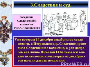 Уже вечером 14 декабря декабристов стали свозить в Петропавловку.Следствие прово