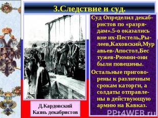 Суд Определил декаб-ристов по «разря-дам».5-о оказались вне их-Пестель,Ры-леев,К