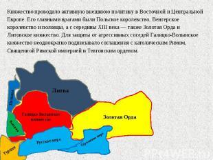 Княжество проводило активную внешнюю политику в Восточной и Центральной Европе.