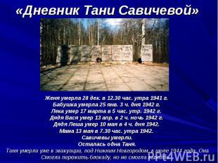 Женя умерла 28 дек. в 12.30 час. утра 1941 г. Женя умерла 28 дек. в 12.30 час. у