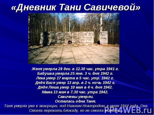 Женя умерла 28 дек. в 12.30 час. утра 1941 г. Женя умерла 28 дек. в 12.30 час. утра 1941 г. Бабушка умерла 25 янв. 3 ч. дня 1942 г. Лека умер 17 марта в 5 час. утр. 1942 г. Дядя Вася умер 13 апр. в 2 ч. ночь 1942 г. Дядя Леша умер 10 мая в 4 ч. дня …