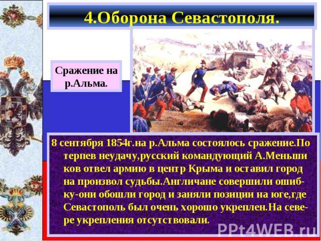 8 сентября 1854г.на р.Альма состоялось сражение.По терпев неудачу,русский командующий А.Меньши ков отвел армию в центр Крыма и оставил город на произвол судьбы.Англичане совершили ошиб-ку-они обошли город и заняли позиции на юге,где Севастополь был …