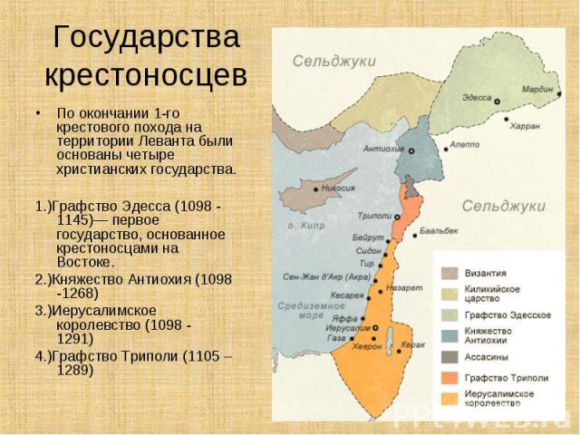 По окончании 1-го крестового похода на территории Леванта были основаны четыре христианских государства. По окончании 1-го крестового похода на территории Леванта были основаны четыре христианских государства. 1.)Графство Эдесса(1098 - 1145)— …