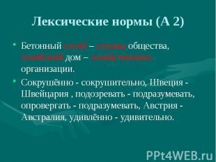 Лексические нормы (А 2) Бетонный столб – столпы общества, хозяйский дом – хозяйс
