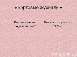 «Бортовые журналы»
