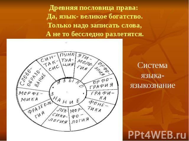 Древняя пословица права: Да, язык- великое богатство. Только надо записать слова, А не то бесследно разлетятся. Система языка-языкознание