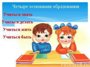 Четыре основания образования Учиться знать Учиться делать Учиться жить Учиться б