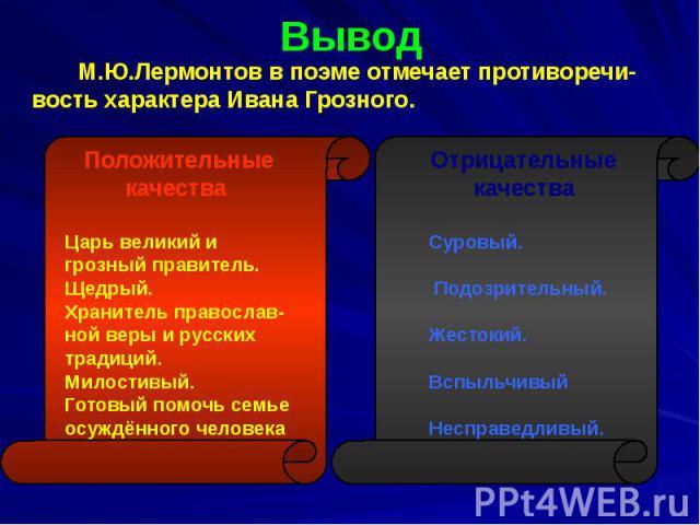 Вывод М.Ю.Лермонтов в поэме отмечает противоречи- вость характера Ивана Грозного.