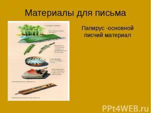 Материалы для письма Папирус -основной писчий материал
