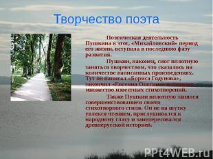 Творчество поэта Поэтическая деятельность Пушкина в этот, «Михайловский» период