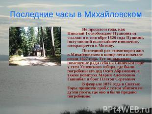 Последние часы в Михайловском Не прошло и года, как Николай I освобождает Пушкин