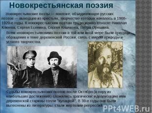 Новокрестьянская поэзия Новокрестьянские поэты— понятие, объединяющее русс