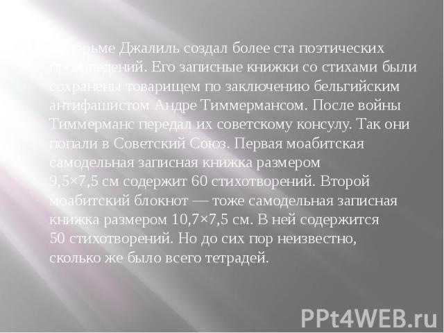 Втюрьме Джалильсоздал более ста поэтических произведений. Его записные книжки состихами были сохранены товарищем позаключению бельгийским антифашистом Андре Тиммермансом. После войны Тиммерманс передал ихсоветскому конс…