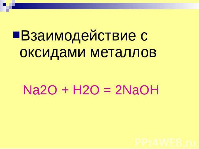 Взаимодействие с оксидами металлов Взаимодействие с оксидами металлов Na2O + H2O = 2NaOH