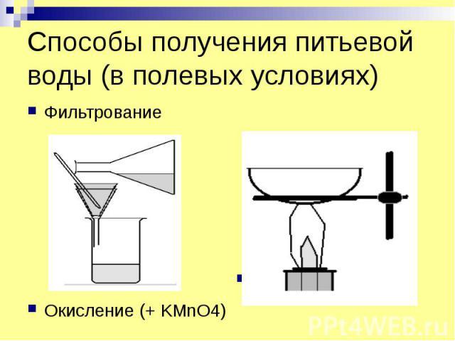 Способы получения питьевой воды (в полевых условиях) Фильтрование Окисление (+ KMnO4)