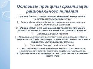 Основные принципы организации рационального питания Рацион, должен соответствова