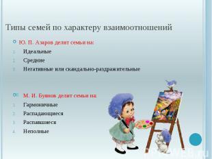 Типы семей по характеру взаимоотношений Ю. П. Азаров делит семьи на: Идеальные С