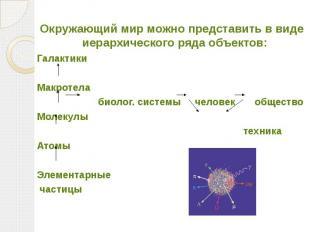 Окружающий мир можно представить в виде иерархического ряда объектов: Галактики
