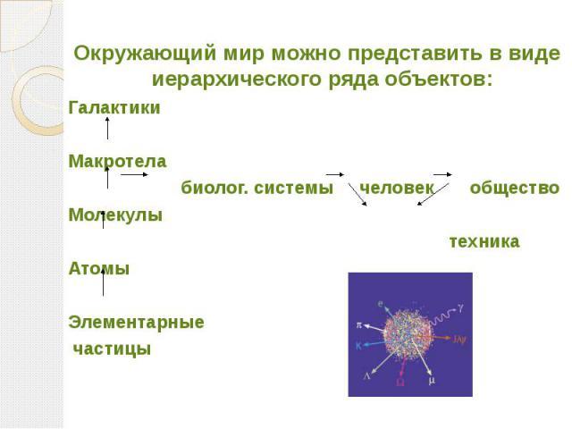 Окружающий мир можно представить в виде иерархического ряда объектов: Галактики Макротела биолог. системы человек общество Молекулы техника Атомы Элементарные частицы